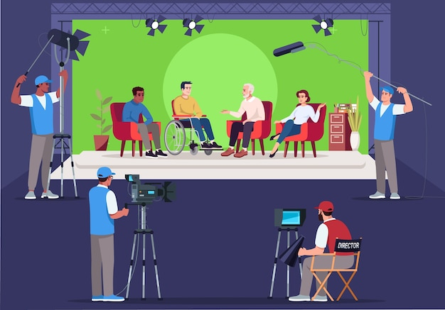 Interview set semi   . asking questions. intervier talking with man in wheelchair. television show creation. chromakey background.