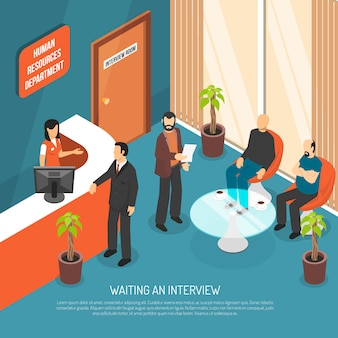 Interview waiting area illustration