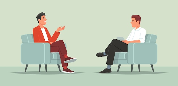유명인과의 인터뷰 텔레비전이나 인터넷 방송 기자가 유명인과 대화