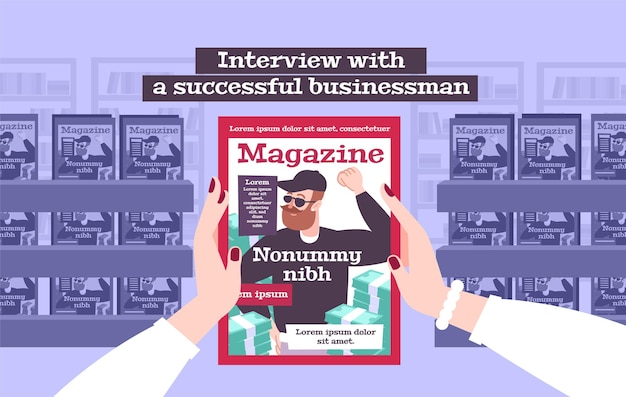 Interview with a successful businessman illustration