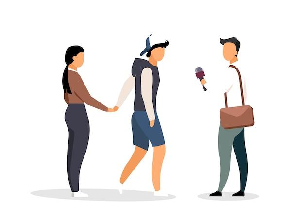 ランダムな見知らぬ人へのインタビューは、平らな顔のないキャラクターです。街頭調査。忙しい地域の孤立した漫画でインタビューを実施