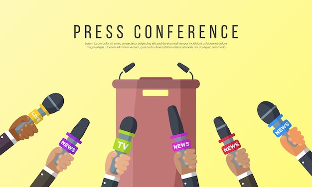Interviews are journalists of news channels and radio stations.microphones in the hands of a reporter.press conference idea, interviews, latest news.