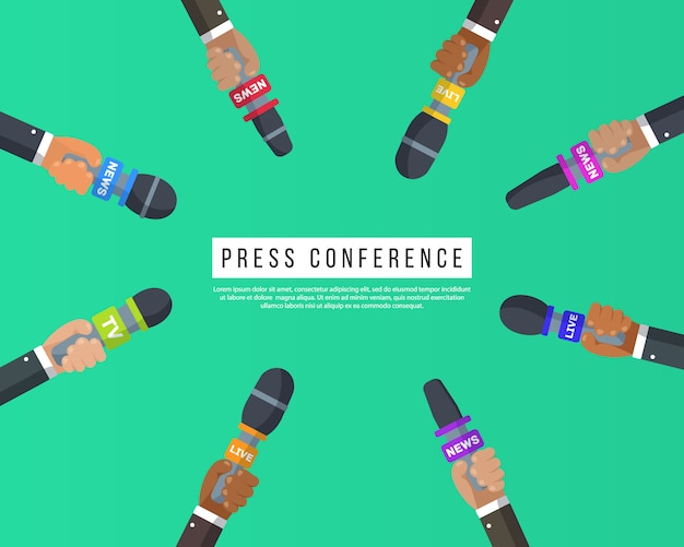 Interviews are journalists of news channels and radio stations.press conference idea, interviews, latest news.microphones in the hands of a reporter.recording with a camera.  illustration,
