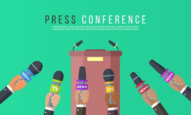 Интервью ведут журналисты новостных каналов и радиостанций. микрофоны в руках репортера. идея пресс-конференции, интервью, последние новости. запись с помощью камеры. иллюстрации,