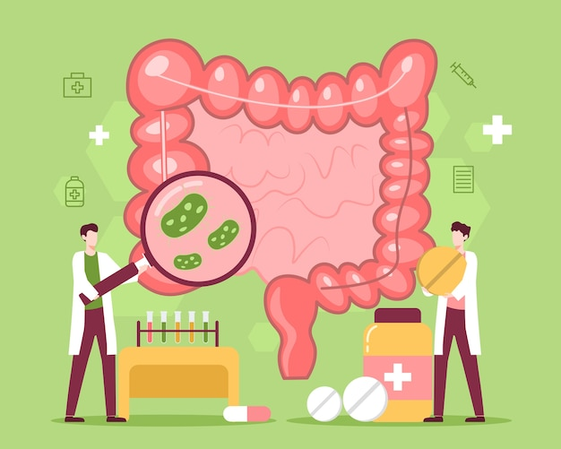 Intestine disease treatment with medicine and doctor illustration