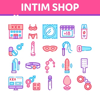 Intim shop sex toys collection icons set