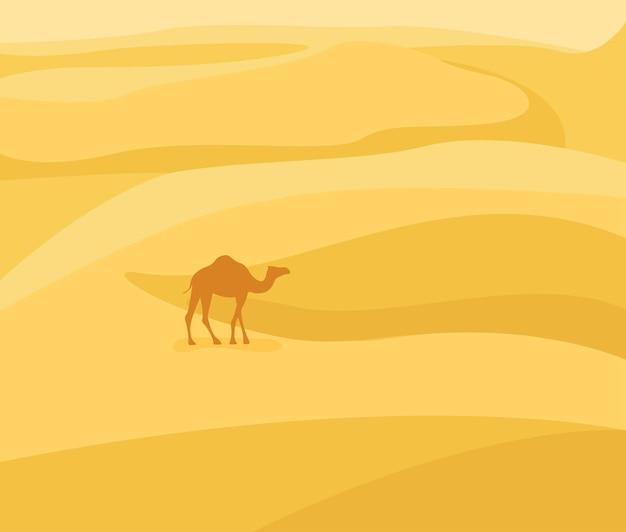 사막 속으로: 사막 풍경. 모래 배경에 낙타 실루엣입니다. 평면 스타일의 벡터 일러스트 레이 션.