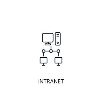 Значок линии концепции интрасети. простая иллюстрация элемента. концепция интрасети наброски символ дизайн. может использоваться для веб- и мобильных ui / ux