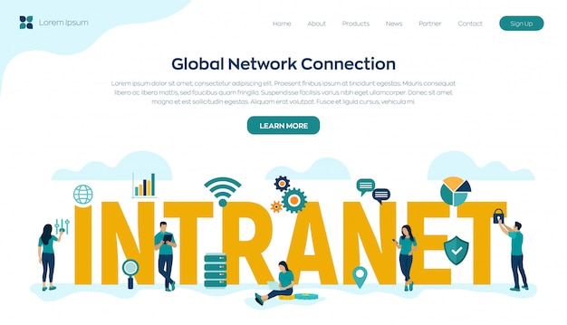 Intranet. global network connection technology. business team.