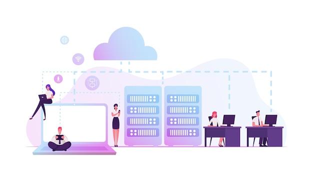 Интранет-частная сеть компьютеров в организации с собственным сервером и межсетевым экраном. мультфильм плоский иллюстрация