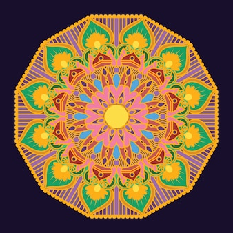 Intricate mandala with golden frame