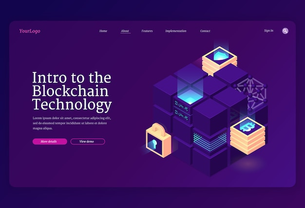 Intro to blockchain technology isometric landing page.
