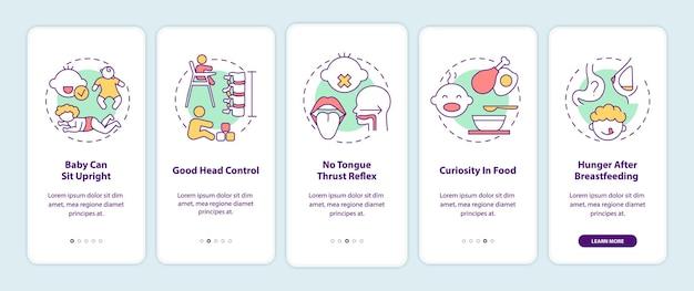 Знакомство с требованиями к детскому питанию на экране страницы мобильного приложения с концепциями