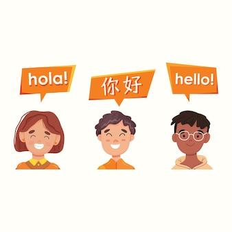 Introducing different languages. english, spanish and chinese. vector illustration