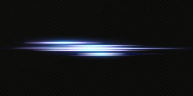 ネオンライトセットの効果をご紹介します。輝く青い抽象的な線。透明レンズフレア効果に適しています。明るい光