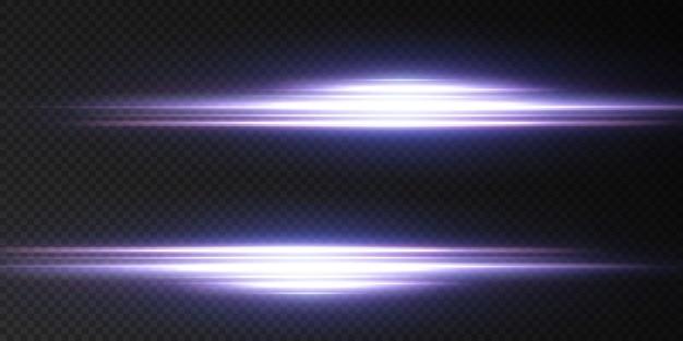 네온 라이트 세트의 효과를 소개합니다. 빛나는 파란색 추상 라인. 투명한 렌즈 플레어 효과에 적합합니다.