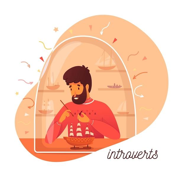 Интровертная индивидуальность, мужчина делает модель корабля, любит одиночество и увлекается