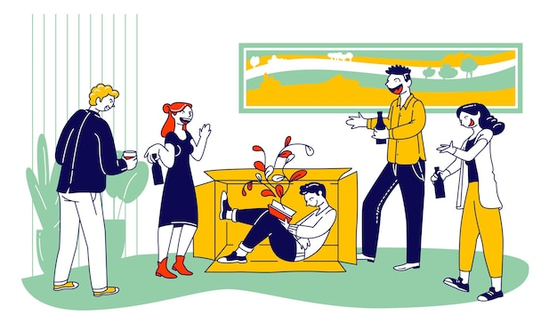 内向性と外向性の概念。漫画フラットイラスト