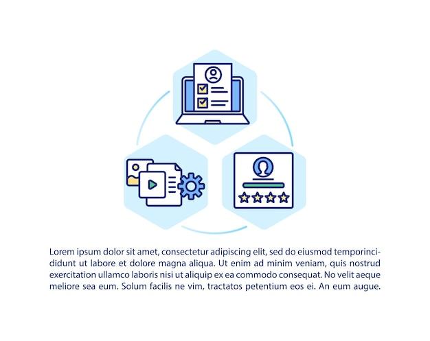 Значок концепции интуитивно понятной структуры курса с текстом. онлайн-образование. профессиональные учителя и репетиторы. шаблон страницы ppt.