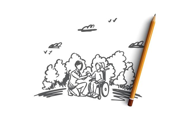 無効、無効、ヘルプ、薬、病院の概念。ソーシャルワーカーの概念スケッチと車椅子の手描きの女性。