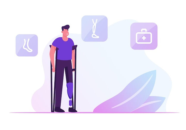 Invalid handicapped man standing on crutches with prosthesis on leg visiting orthopedy clinic or hospital. cartoon flat illustration