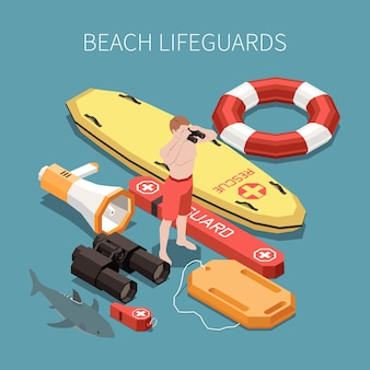 Inventory of beach lifeguard isometric composition with surf board loudspeaker binocular whisle 3d  illustration