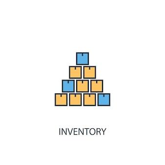 재고 개념 2 컬러 라인 아이콘입니다. 간단한 노란색과 파란색 요소 그림입니다. 재고 개념 개요 기호 디자인