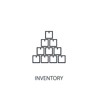 재고 개념 라인 아이콘입니다. 간단한 요소 그림입니다. 재고 개념 개요 기호 디자인입니다. 웹 및 모바일 ui/ux에 사용할 수 있습니다.