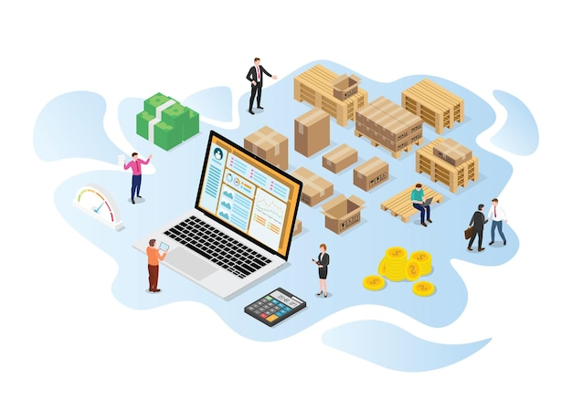Inventory or logistics optimization concept with modern isometric or 3d style vector illustration