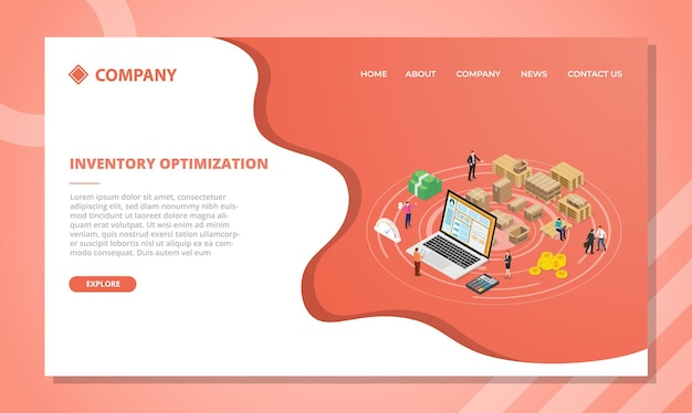 아이소 메트릭 스타일 벡터 일러스트와 함께 웹 사이트 템플릿 또는 방문 홈페이지 디자인을위한 인벤토리 최적화 개념