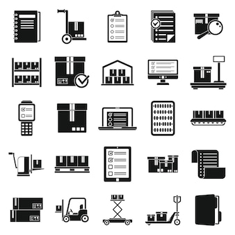 Inventory warehouse icons set, simple style