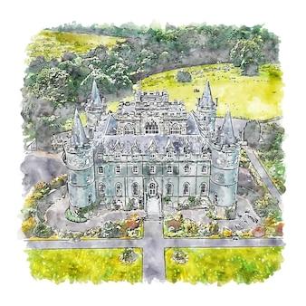 Замок инверарей шотландия акварельный эскиз рисованной иллюстрации