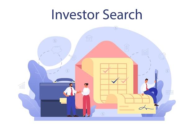 Inverstor ищет концепцию запуска. новые бизнес-инвестиции и идея финансового богатства. спонсорская поддержка инновационного проекта.