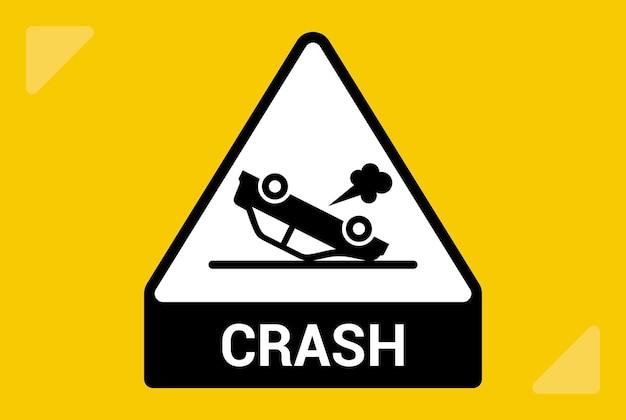 거꾸로 된 자동차 아이콘입니다. 운전자가 사고를 당했습니다. 평면 벡터 일러스트 레이 션.