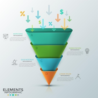 거꾸로 된 원뿔 또는 둥근 피라미드는 4 개의 다채로운 부분, 화살표, 백분율 및 달러 기호, 얇은 선 아이콘 및 텍스트 상자로 구성됩니다. 인포 그래픽 디자인 템플릿입니다.