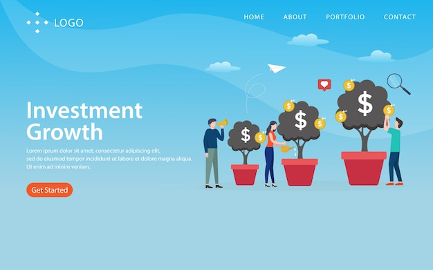 Invesment growth, website template,  layered, easy to edit and customize, illustration concept