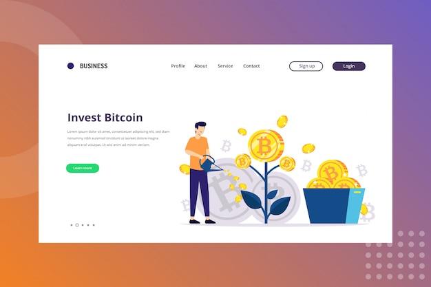 Инвестируйте биткойн-иллюстрацию для концепции криптовалюты на целевой странице
