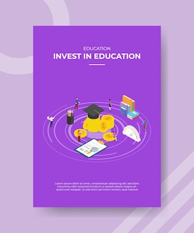Invest in education concept poster template with isometric style vector illusatration