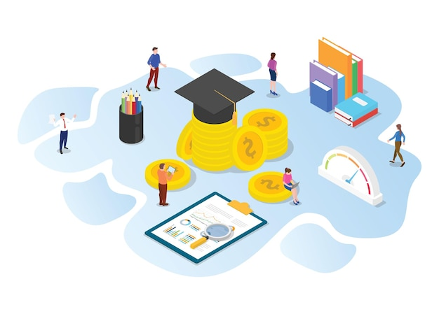 Invest in education concept with modern isometric or 3d style vector illustration