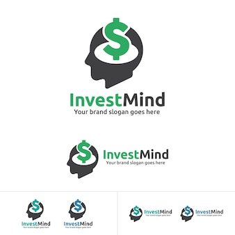 Invest mind logo, human head with dollar sign icon