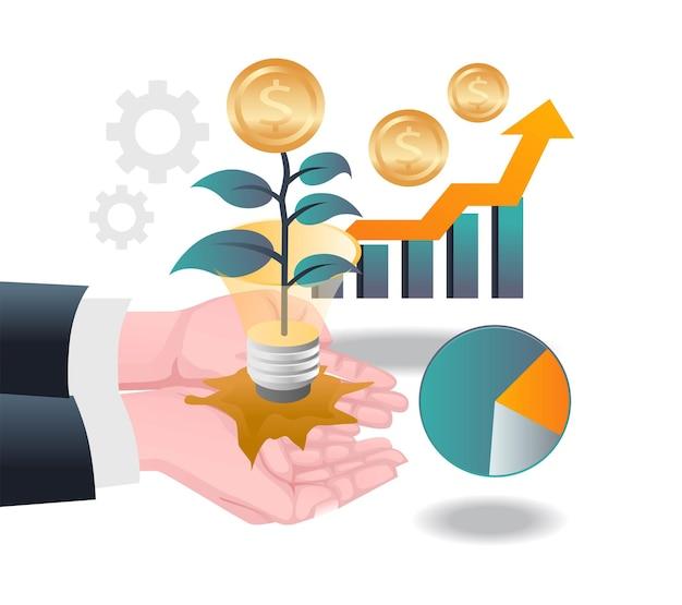 아이소메트릭 일러스트레이션에 돈과 성공 투자