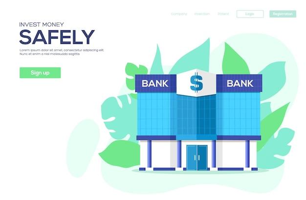 Invest money concept flyer, web banner, ui header, enter site. vector head banner or enter slide.