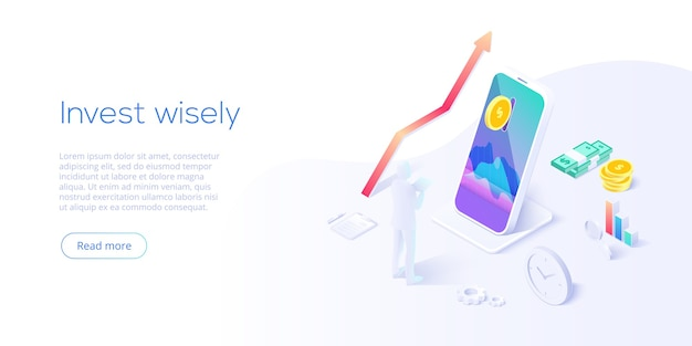 Invest money wisely concept in isometric