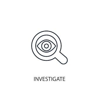 Изучите значок линии концепции. простая иллюстрация элемента. исследовать концептуальный дизайн символа. может использоваться для веб- и мобильных ui / ux