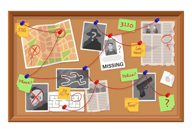 Investigation board illustration