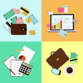 投資と個人金融、信用と予算。キャッシュフロー管理と財務計画。ベクトル図