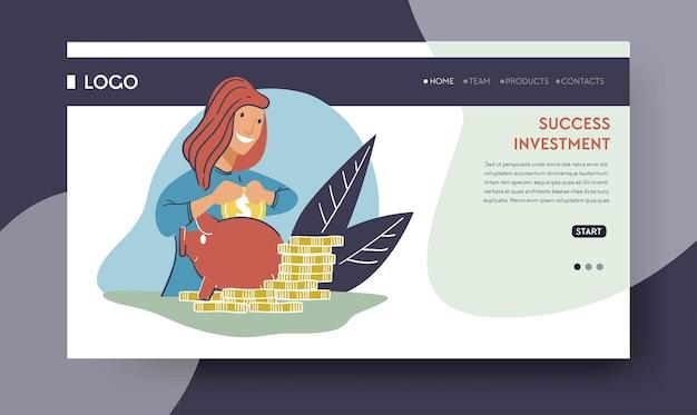 수입과 이익을 얻기 위해 프로젝트에 투자하고 돈을 투자합니다. 돼지 저금통에 금융 자산을 가진 투자자입니다. 예금 또는 은행. 웹사이트 또는 웹 페이지 방문 템플릿, 평면 스타일의 벡터