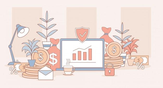 投資アプリケーション漫画概要図。上昇の棒グラフ、黄金のコインを持つノートパソコンの画面。