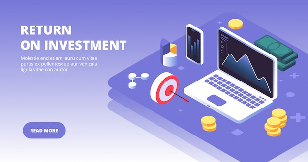 Investing capital, benefits and profit with laptop, smartphone and money symbols