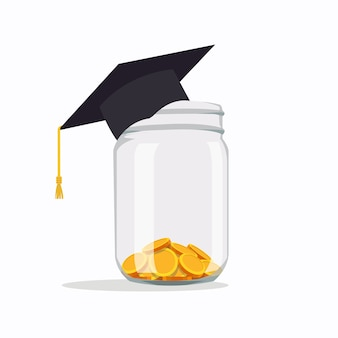 Investing in education ideas school fees, education expenses, school tuition, graduation cap with coins in a jar vector illustration in flat style